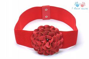 Obrázek Řemen červený s  květinou R3