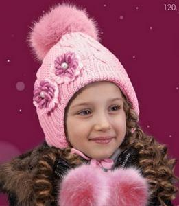 Bild von Baby Winter Mütze mit großem pompon und Kordelzug