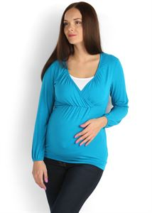 Picture of Blouse Luann  turquoise Maternity and Nursing