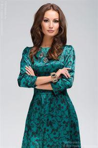 Bild von Kleid DM00266GR Maxi Smaragd mit Schwarzem Blumenornament