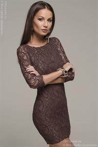 Изображение Платье MM05048BN шоколадное кружевное с рукавом 3/4