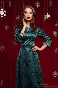 Изображение Платье DM00266GR длины макси изумрудное с черным цветочным орнаментом
