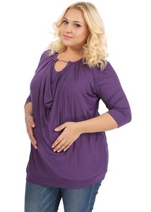 Picture of PBV04 Maternity And Nursing Blouse In eggplant