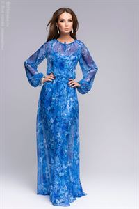 Picture of DM00344BL dress blue floral print Maxi length and long sleeve