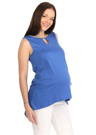 """Изображение Блуза """"Мая"""" васильковая для беременных и кормящих"""