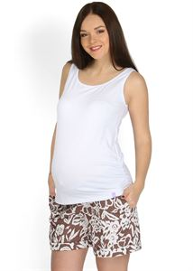 """Picture of """"Lisbet"""" Maternity brown shorts with flowers 2 in 1"""