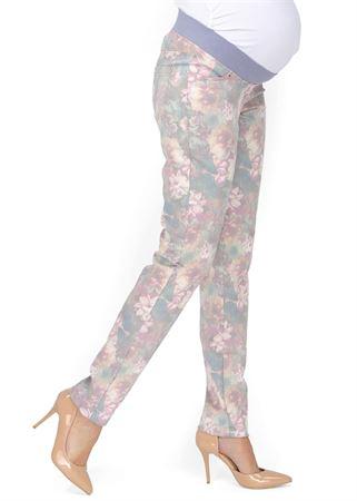 """Obrázek z Kalhoty """"Belita"""" pro těhotné 2 v 1; barva: s květinami"""
