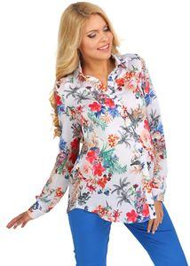 """Изображение Блуза """"Архелия"""" цветы на белом для беременных и кормящих"""