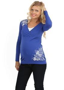 Picture of Phoebe Maternity And Nursing Long Sleeve T-Shirt In cornflower color