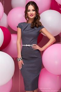 Picture of DM00380DB dress Navy MIDI length with small diamond print