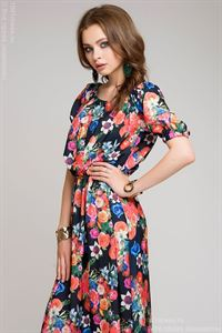 Picture of Dress DM00243BF dark blue with large floral print