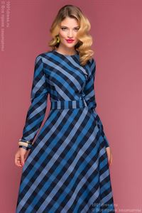 Picture of DM00342BB dress length Maxi in black and blue checks