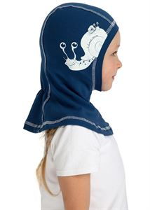 Picture of Knitwear Helmet Hat Indigo with a snail