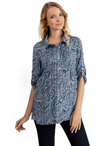 "Picture of Blouse ""Aurora""  Blue with paisley maternity and nursing"