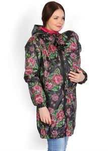 """Obrazek Kurtka """"Voila"""" czarna z różami jesienno-wiosenna 3 w 1 dla kobiet w ciąży i do noszenia dziecka w chuście"""