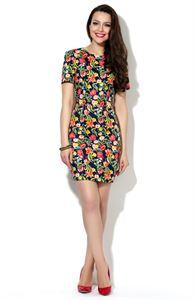 Bild von Kleid DSP-87-8 Baumwolle Dunkel-Blau In Blumen