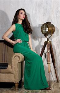 Изображение Платье DSP-34-73 зеленое длины макси с напуском на талии