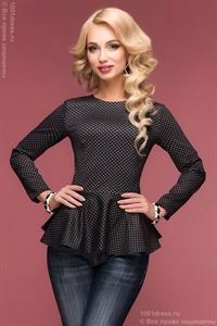 Picture of DM00465BK blouse with peplum grey with black print
