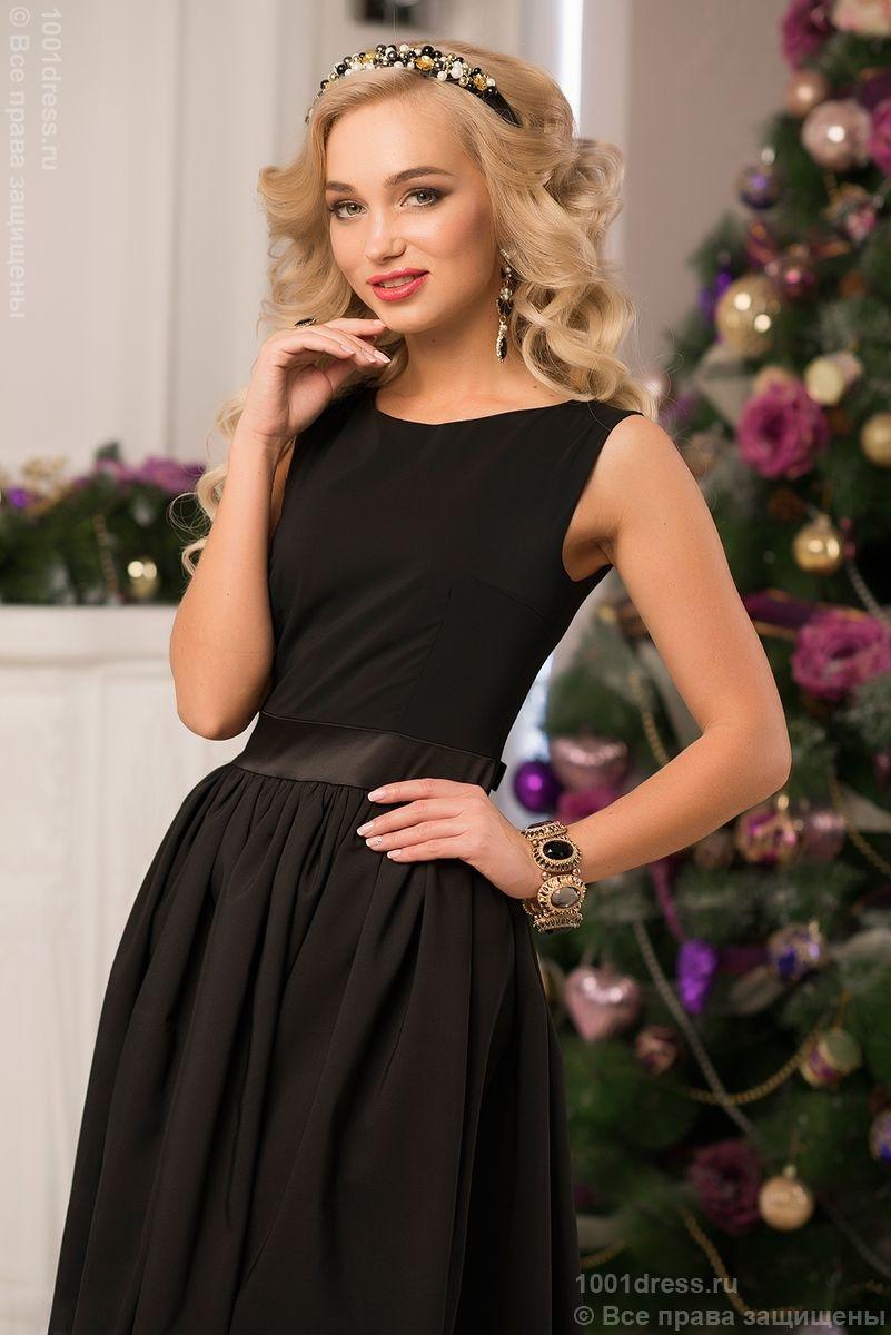 Черное коктейльное платье ретро