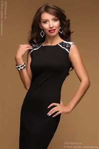 Picture of DM00435BK black dress of mini length with lace trim on the back