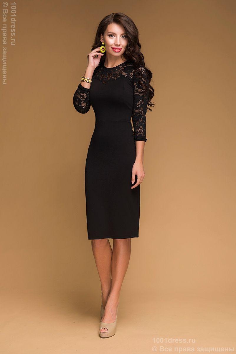 Платье черное с кружевом купить