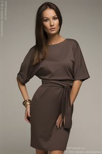 Picture of DM00211BR Dress mocha color bat sleeve with belt