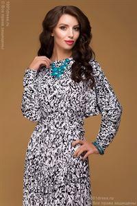"""Bild von Kleid DM00246BK Farbe Schwarz-Weiß, Maxi-Länge, Mit weitem Rock Und  ärmel """"Fledermaus"""""""