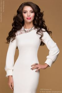 Picture of Dress DM00478MK milky color MIDI length with lace insert and long sleeves