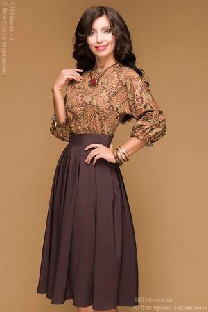 """Изображение Платье DM00234BR шоколадное длины миди с принтованным верхом и рукавом """"летучая мышь"""""""