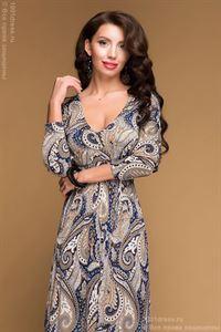Bild von Kleid DM00486GY Grau, Maxi-Länge, Mit Blauen Ornamenten Und 3/4 Ärmeln.