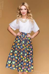 Picture of DM00406DB skirt dark blue MIDI length print