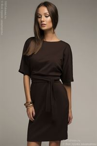 Picture of Dress DM00211BR chocolate color bat sleeve with belt
