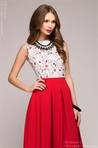 Picture of DM00373RD red dress length MIDI with a bright printed top sleeveless