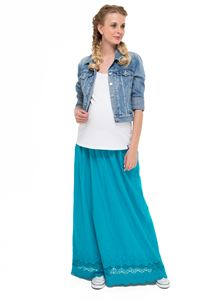 "Picture of ""Ulyana"" Maternity turquoise skirt with flowers"
