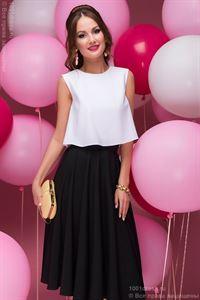 Obrázek Komplet DM00403BK z černé sukně midi a bílého krop-top