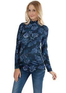 Picture of Samantha Maternity Turtleneck In Blue With Flowers