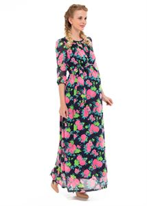 """Picture of """"Lucretia"""" Maternity blue dress with roses"""