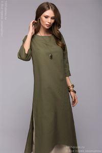 Obrázek Šaty DM00651GR zelené volného stříhu s dvojitou sukní