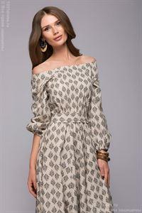 Bild von Kleid DM00604BG Beige, Länge Maxi Kleid, schulterfrei.