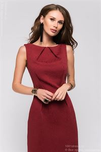 Picture of DM00598BO Dress Burgundy sleeveless with pintucks on the neckline