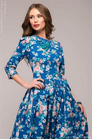 Picture of DM00505BL blue dress Maxi length with large floral print