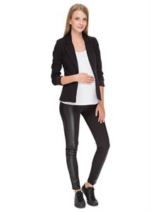 """Picture of """"Toni"""" Maternity pants in black with faux leather panels"""