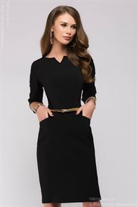 Picture of Dress DM00568BK case is black with a V-neck and 3/4 sleeves