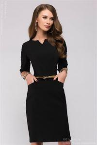 Bild von Kleid DM00568BK Hard Case schwarz mit Ausschnitt auf der Brust und 3/4 ärmeln