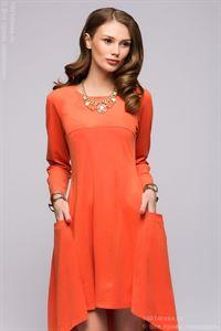 Изображение Платье  DM00600OR иск. замша  оранжевое разноуровневое с длинными рукавами