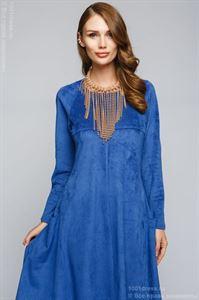 Изображение Платье  DM00600BL иск. замша  синее разноуровневое платье с длинными рукавами