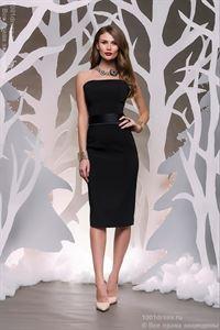 Bild von  DM00070BK Kleid schwarz, Midi-Länge, mit Satin-Bund