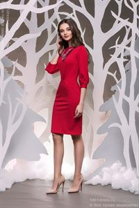 Picture of DM00436RD red dress of mini length with full sleeves