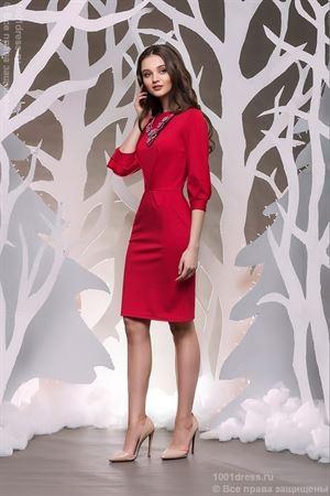 Изображение Платье DM00436RD красное длины мини с пышными рукавами
