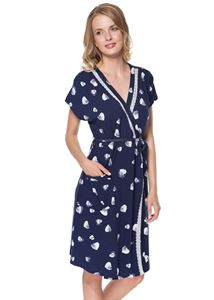 Picture of HV07 blue with hearts Maternity dressing gown